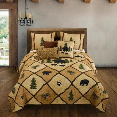 Pine Crossing 3-Piece Gold Cotton King Quilt Set