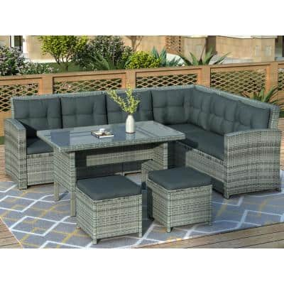 6-Piece Gray Wicker Outdoor Sectional Set with Gray Cushions