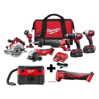 M18 18-Volt Lithium-Ion Cordless Combo Tool Kit (6-Tool) with M18 Wet/Dry Vacuum and Multi-Tool