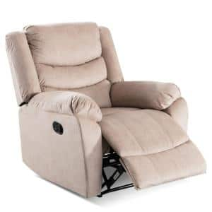 Beige Heavy Duty Upholstery Home Manual Overstuffed Recliner Sofa Chair