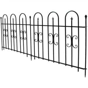 38 in. x 49 in. per Panel, 8 ft. Overall Metal Decorative Finial Garden Landscape Border Fence in Black (2-Piece)