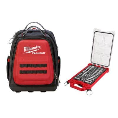 Milwaukee 15-in PACKOUT Backpack 3/8-in Drive METRIC Ratchet and Socket Mechanics Tool Set w/ PACKOUT Case (32-Piece)