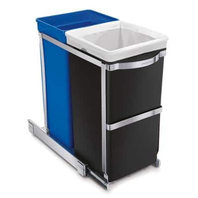 35-Liter Commercial-Grade Under-Counter Pull-Out Recycling Trash Can