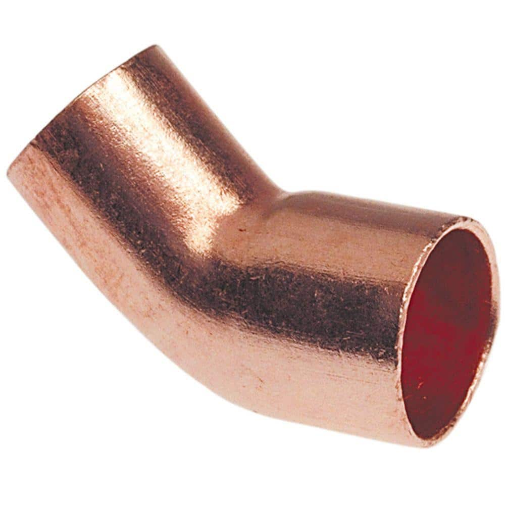 Everbilt 1 2 In Copper Pressure 45 Degree Fitting X Cup Street Elbow C6062hd12 The Home Depot