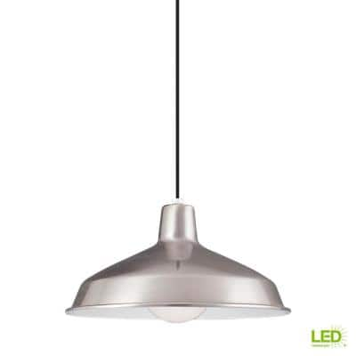 Painted Shade Pendants 1-Light Brushed Stainless Pendant with LED Bulb