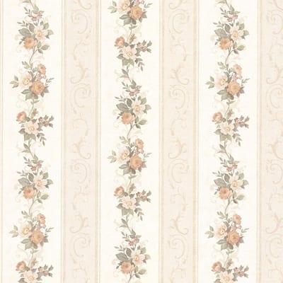Lorelai Peach Floral Stripe Vinyl Peelable Roll Wallpaper (Covers 56 sq. ft.)