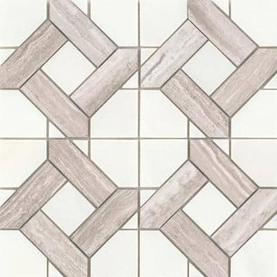 Alluro Cream 12.01 in. x 12.01 in. Basketweave Polished Marble Mosaic Tile (1.001 sq. ft./Each)
