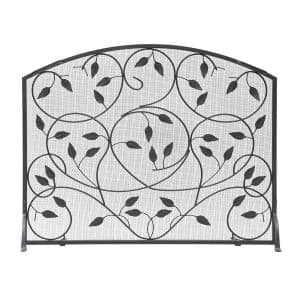 38 in. 1- Panel L Black Flat Fireplace Screen with Leaves Pattern