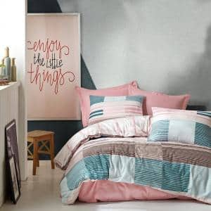 Mint Meets Pink Duvet Cover Set : Pink, Full Size Duvet Cover, 1 Duvet Cover, 1 Fitted Sheet and 2 Pillowcases
