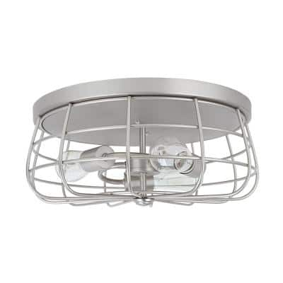 3-Light Brushed Nickel Flush Mount with Wire Shade