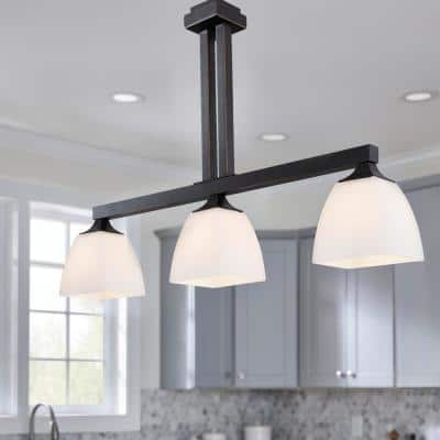 Mattock 3-Light Oil Rubbed Bronze Kitchen Island Light with Glass Shades
