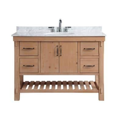 Marina 48 in. Single Bath Vanity in Driftwood with Marble Vanity Top in Carrara White with White Basin