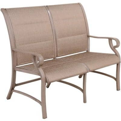 Brushed Champagne 1-Piece Metal Aluminum Outdoor Loveseat in Champagne Seat 2-Person Patio Bench
