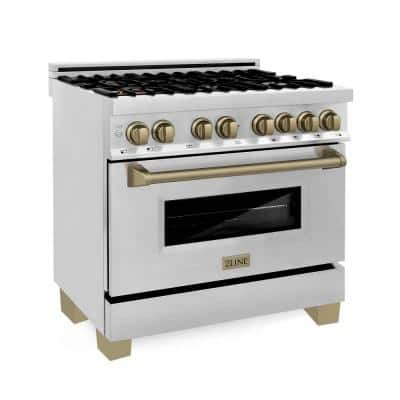 """Autograph Edition 36"""" 4.6 cu. ft. Dual Fuel Range in Stainless Steel with White Matte Door and Matte Black Accents"""