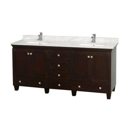 Acclaim 72 in. Double Vanity in Espresso with Marble Vanity Top in Carrara White and Square Sink