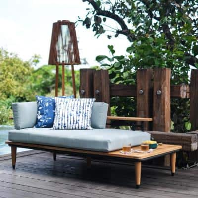 Mosko Teak Wood Outdoor Daybed with BlueSpruceCushions