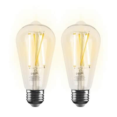 60-Watt Equivalent E26 ST21 (ST64) Edison WiFi LED Smart Bulb, 2700K-6500K No Hub Required (2-Pack)