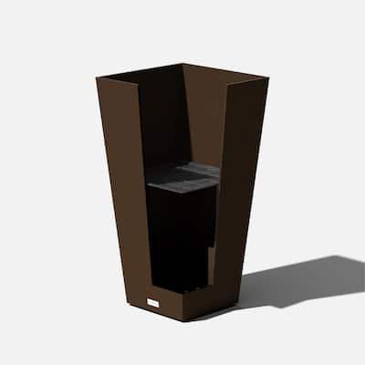 Midland 30 in. Espresso Plastic Tall Square Planter (2-Pack)