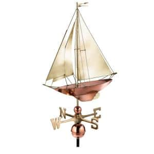 42\u201d Morgana Pure Copper Rooftop Finial with Directionals and Steel Roof Mount