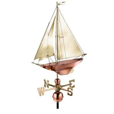 Racing Sloop Weathervane - Pure Copper with Brass Sail