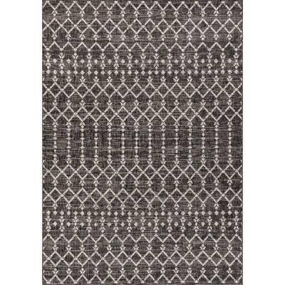 Ourika Moroccan Black/Gray 5 ft. 3 in. x 7 ft. 7 in. Geometric Textured Weave Indoor/Outdoor Area Rug