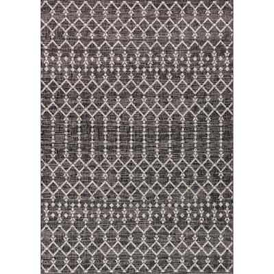 Ourika Black/Gray 9 ft. x 12 ft. Moroccan Geometric Textured Weave Indoor/Outdoor Area Rug