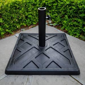 Square Metal Patio Umbrella Base in Black
