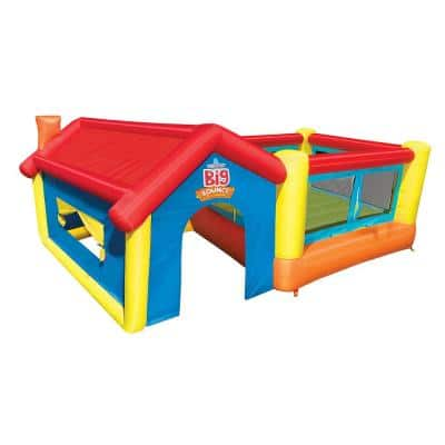 Inflatable Bounce House and Outdoor Playhouse with Motor Blower