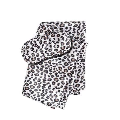 Betseys Leopard 3-Piece Charcoal Black Animal Print Satin Microfiber Pillowcase Bonus Set