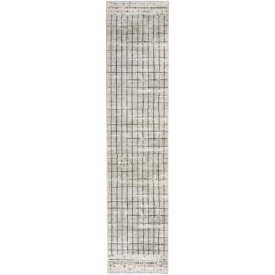 Concerto Ivory/Grey 2 ft. x 10 ft. Abstract Contemporary Runner Rug