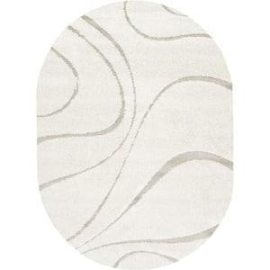Carolyn Contemporary Curves Shag Cream 5 ft. x 8 ft. Oval Rug