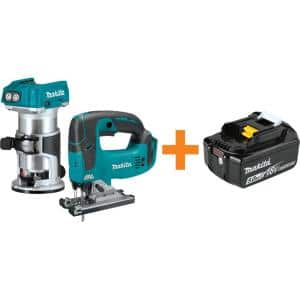 18-Volt LXT Brushless Variable Speed Compact Router and 18-Volt LXT Brushless Jig Saw with Bonus 18V LXT Battery 5.0 Ah
