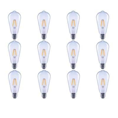 40-Watt Equivalent ST19 Clear Glass Vintage Decorative Edison Filament Dimmable LED Light Bulb Soft White (12-Pack)