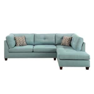 Laurissa 73 in. Square Arm 2-Piece Linen L-Shaped Sectional Sofa in Light Green Linen