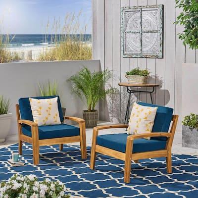 Grenada Teak Brown Wood Outdoor Club Lounge Chairs with Dark Teal Cushions (2-Pack)