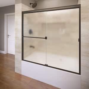 Classic 60 in. x 57 in. Obscure Semi-Framed Sliding Tub Door in Oil Rubbed Bronze