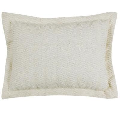 Natick Collection in Wavy Channel Stripes Design Ivory Standard 100% Cotton Tufted Chenille Sham