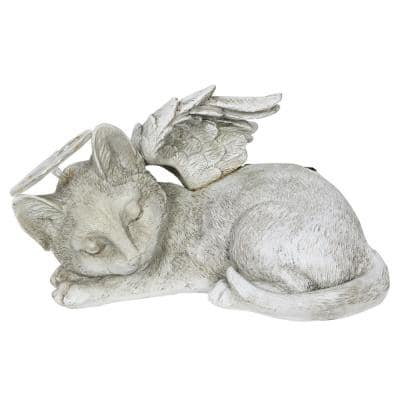 Solar Sleeping Cat Angel Statue