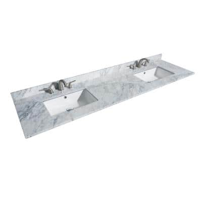 80 in. W x 22 in. D Marble Double Basin Vanity Top in White Carrara with White Basins