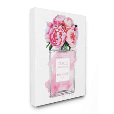 """16 in. x 20 in. """"Glam Perfume Bottle V2 Flower Silver Pink Peony"""" by Amanda Greenwood Printed Canvas Wall Art"""