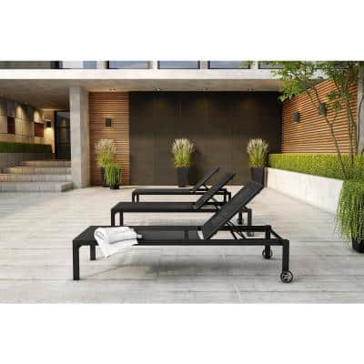 Blacked Brushed Aluminum Outdoor Chaise Lounge with Wheels (Set of 2)