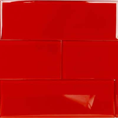 Contempo Red 4 in. x 12 in. x 8mm Polished Glass Floor and Wall Tile (15 pieces 5 sq.ft/Box)