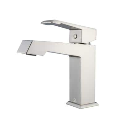 Labaro Brass Single Hole Bathroom Faucet - Brushed Nickel