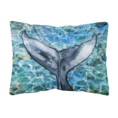 12 in. x 16 in. Multi-Color Lumbar Outdoor Throw Pillow Whale Tail