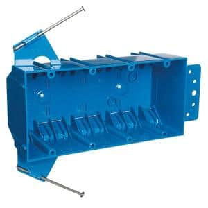 Blue 4-Gang 55 cu. in. New Work Zip Box with Non-Metallic Switch and Outlet Box