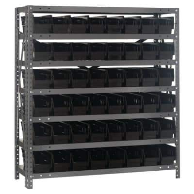 36 in. W Black Shelf Bin Rack Unit