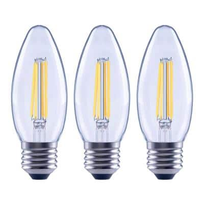 100-Watt Equivalent B13 Dimmable Blunt Tip Candle Clear Glass Edison Filament LED-Light Bulb Soft White (3-Pack)