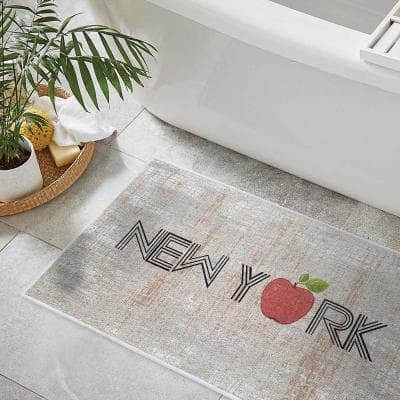 The US States New York Design Solid Background Cotton Non-Slip Washable Thin 3-Piece Bathroom Rugs Sets