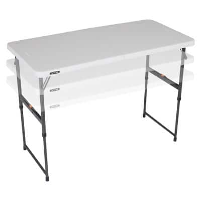 4 ft. One Hand Adjustable Height Fold-in-Half Table; Almond
