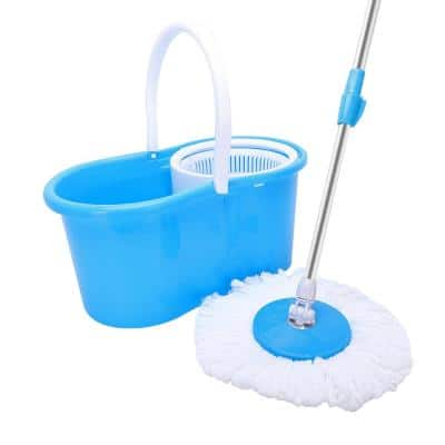 Microfiber Spin Mop String with Bucket Mop Kit Blue